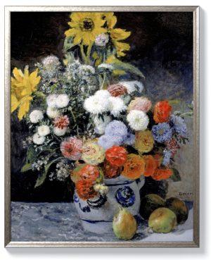 Реноар – Смесени цветя в глинена саксия