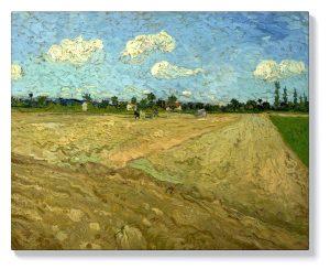 Ван Гог – Разцъфнали овощни градини , гледка към Арл